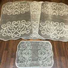 ROMANY WASHABLES NON SLIP 2020 SUPER THICK SHAPED DESIGN FULL SET OF 4PC SILVER